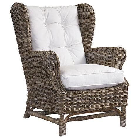 Gray Wicker Chair by Wingback Lounge Chair White Cushion Gray Kubu Wicker