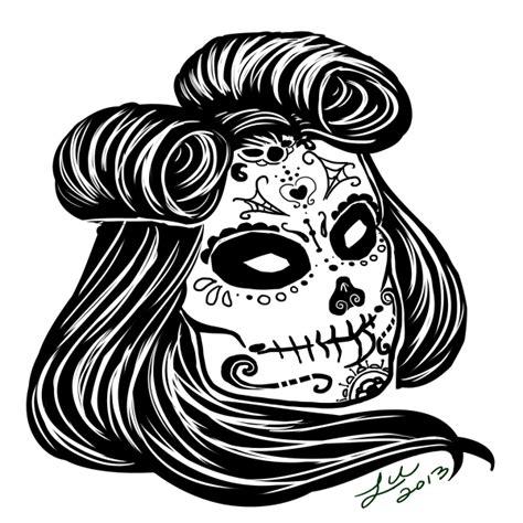 commission rockabilly sugar skull tattoo by alluvial on