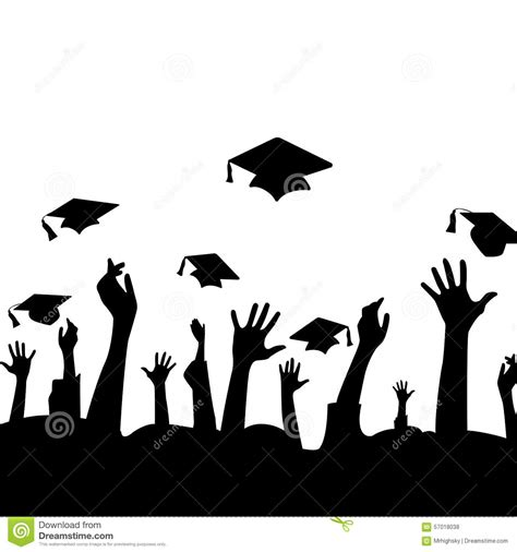 Siluet Wisuda Graduation Shioulette silhouette of in the air and graduation hats stock vector image 57018038