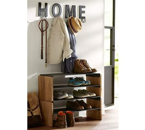 shoe stacker storage lodge stacking shoe storage pottery barn