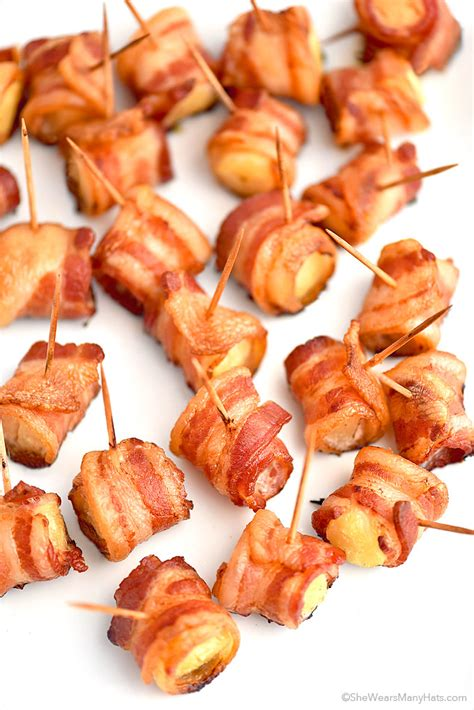 bacon wrapped pineapple bites recipe shewearsmanyhats com appetizer recipes snack ideas