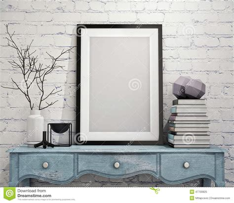 home interior picture frames mock up poster frame on vintage chest of drawers interior