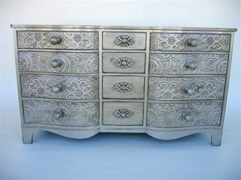 Antiqued Dressers by Vintage Dresser With Antique Silver Finish
