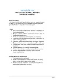 Contact Center Manager Description by Call Center Inbound Technical Support Description Template Sle Form Biztree