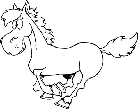 printable worksheet of smiley cartoon horse for kids
