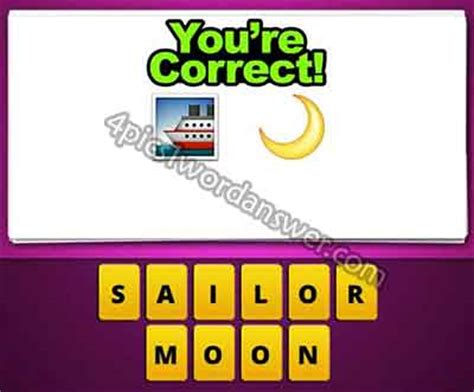 4 pics 1 word pizza boat guess the emoji ship and half moon 4 pics 1 word game