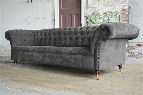 velvet chesterfield sofas uk modern handmade 3 seater slate grey velvet chesterfield