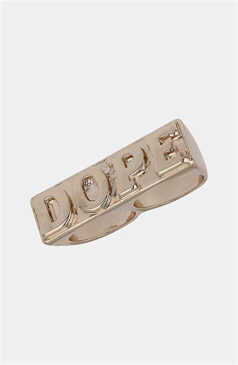 topman two finger slogan ring in gold for lyst