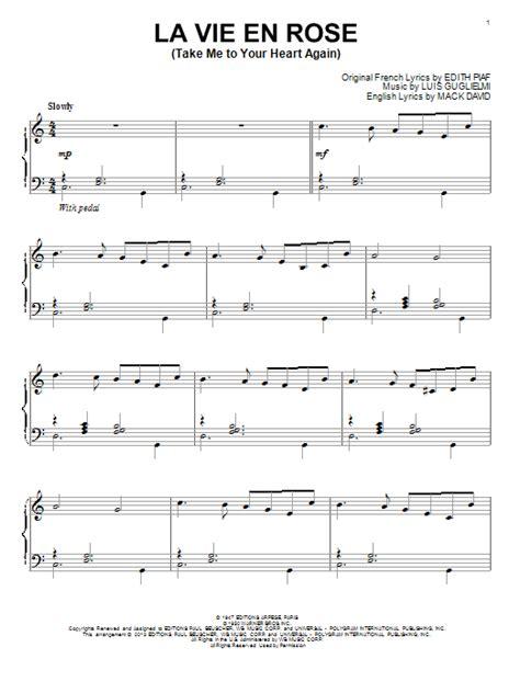 tutorial piano la vie en rose la vie en rose take me to your heart again sheet music