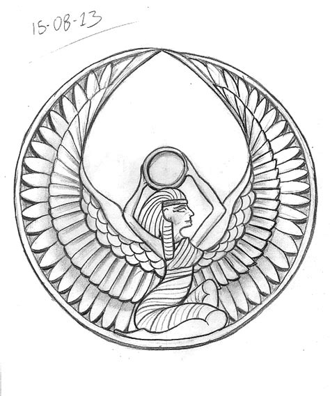 isis goddess tattoo sketch a day august 15th 21st
