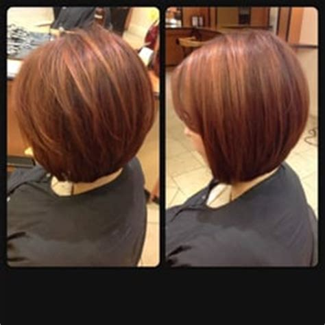 haircuts redwood city subtle copper gold highlights and a line graduated bob