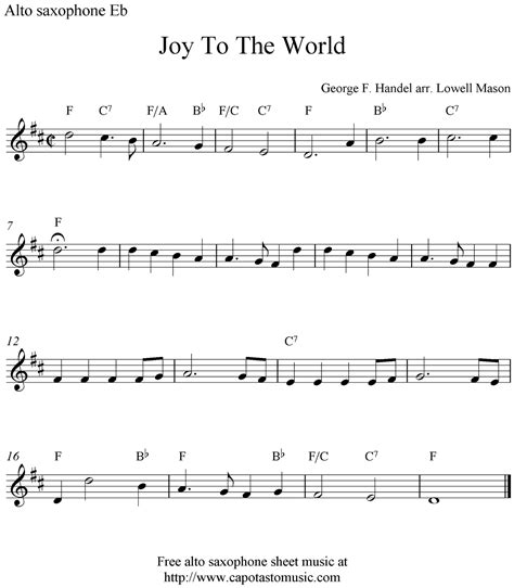 free printable sheet music alto sax joy to the world free christmas alto saxophone sheet