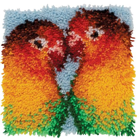 Wonderart Latch Hook Kit Lovebirds 12inx12in Latch Hook Rug Kits For
