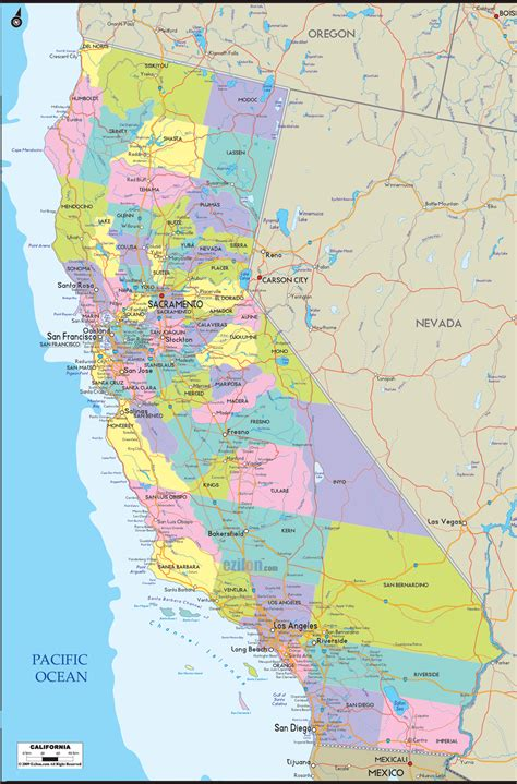 map california usa detailed political map of california ezilon maps