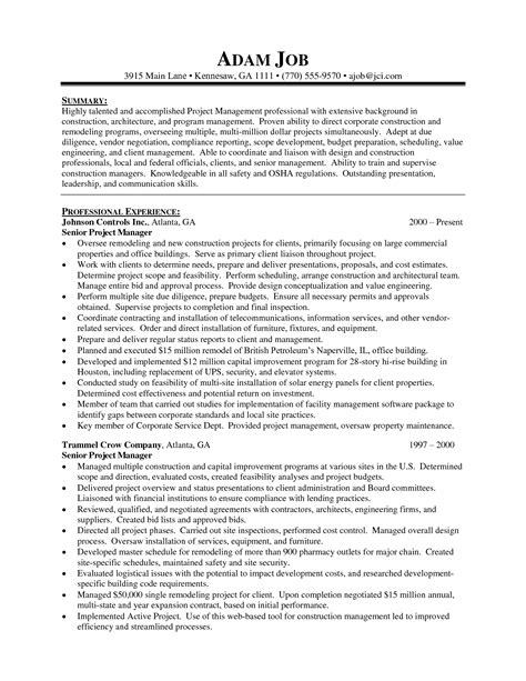 Resume Sle Construction Manager sle resume for construction project manager 28 images