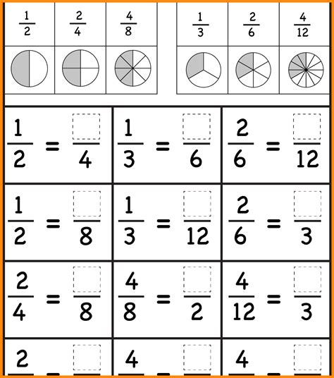 Common Fraction Worksheets by 8 Equivalent Fraction Worksheet Math Cover