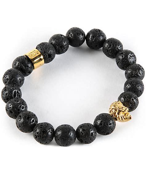 The Gold Gods Lion Lava Stone Bracelet
