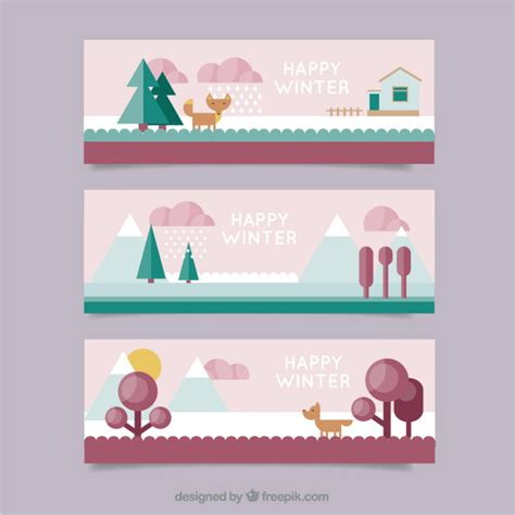 hairstyle banner design winter banners set in flat design style vector free download