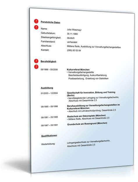 Lebenslauf Muster Verwaltungsfachangestellte Lebenslauf Verwaltungsfachangestellter Muster Zum
