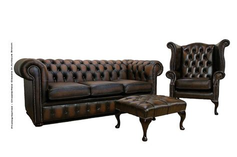 Chesterfield Sofa Suite Chesterfield Leather Sofa Suite 3 1 Footstool Antique Brown Leather Sofas Traditional Sofas