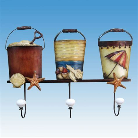 beach home decor wholesale buy metal sand bucket trio w wall hook 19 inch wholesale