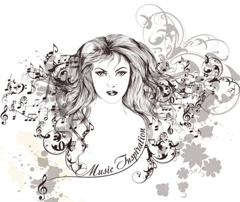 hair musical download free hand drawn girl with music note vector graphics vector