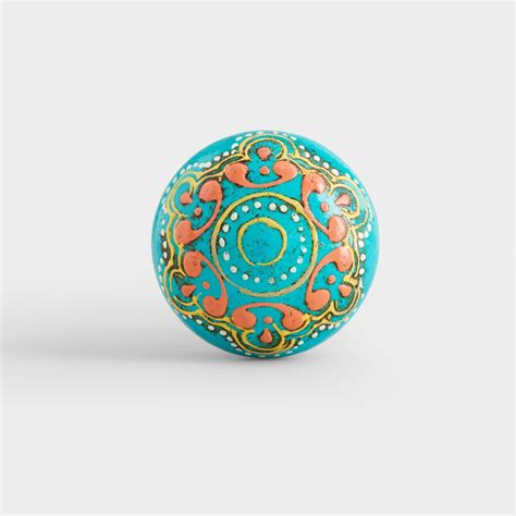 Turquoise Knobs by Turquoise Painted Wooden Knobs Set Of 2 World Market