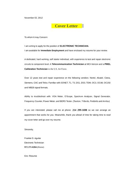 electronic technician cover letter sles and templates