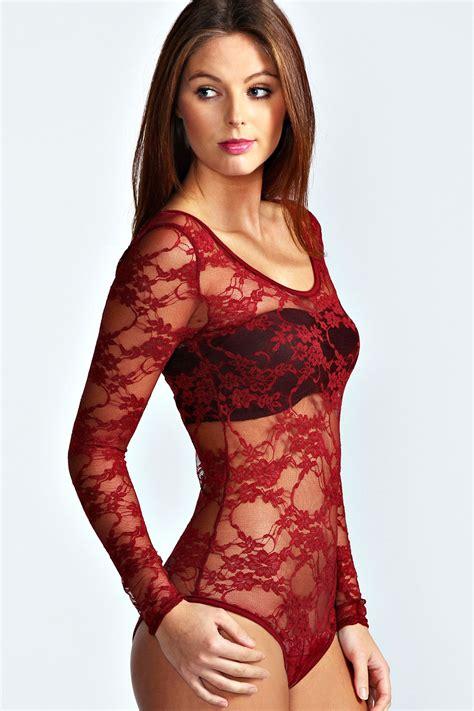 Longsleeve Tara Shirt boohoo womens tara lace sleeve bodysuit ebay
