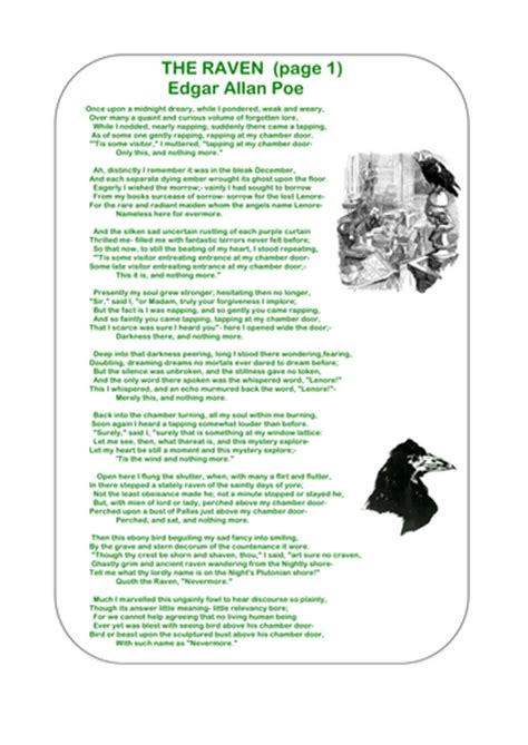 Printable Version Of The Raven   the raven poetry bundle by ks2history teaching