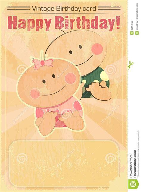Baby Birthday Card Design Retro Design Baby Birthday Card Royalty Free Stock Images