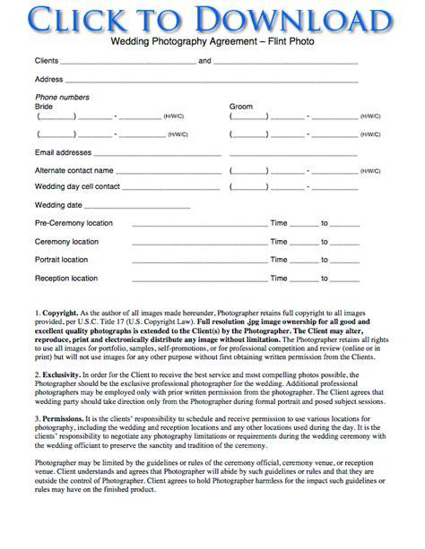 photoshoot agreement template photoshoot agreement template free wedding photography