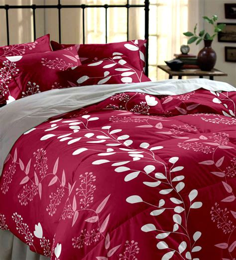 maroon bed sheets home ecstasy maroon printed double bedsheet set by home