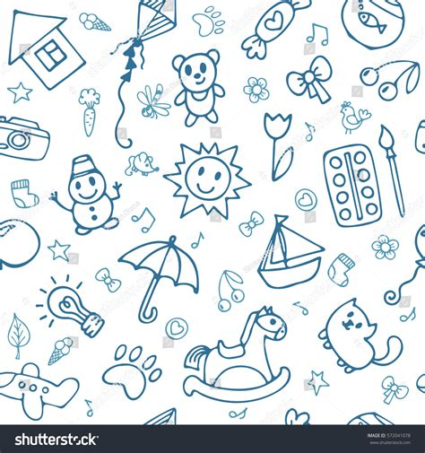 seamless pattern en francais doodle children drawing background seamless pattern stock