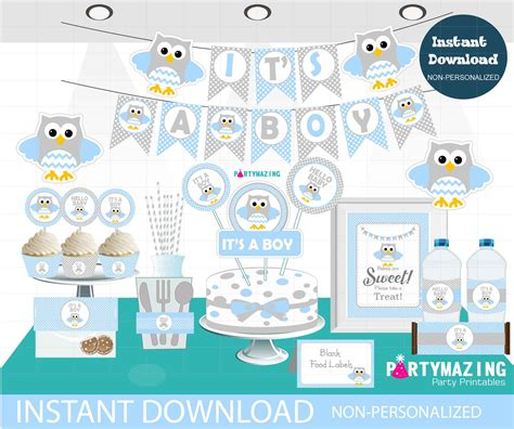 Baby Shower Decoration Kits by Boy Baby Blue Owl Baby Shower Set Printable Baby Shower