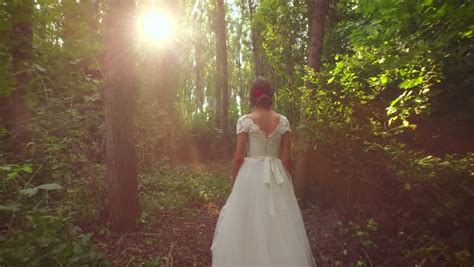 Nature Wedding Concept by Retro Vintage Dress Walking Through