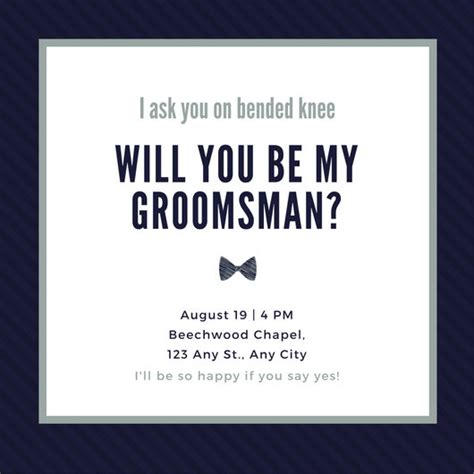Customize 35 Groomsman Invitation Templates Online Canva Groomsmen Template