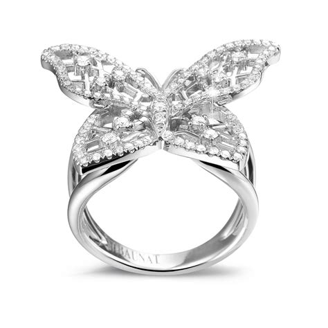 white gold rings 0 75 carat butterfly