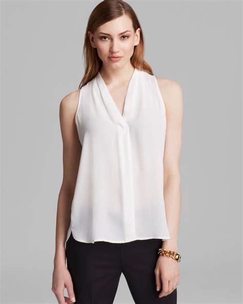 V Neck Basic Blouse White Neumor lyst vince camuto sleeveless v neck blouse in white