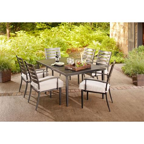 Home Depot Outdoor Patio Dining Sets Hton Bay Marshall 7 Patio Dining Set With Textured Silver Pebble Cushions Hd14306 The
