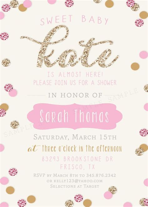 girl baby shower invitation gold and pink sparkle