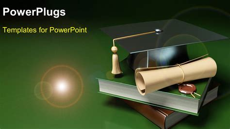 Powerpoint Template Books Graduation Degree And Graduation Hat Over Green Background 14731 Graduation Powerpoint Template