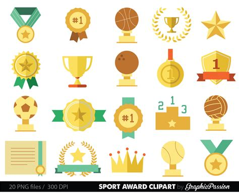 printable trophy stickers sports clipart racing prizes flags digital paper stars