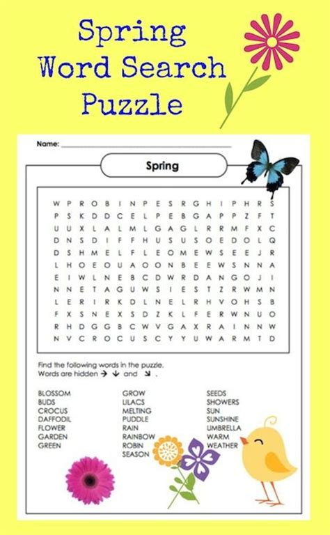 printable word search second grade spring word search for 2nd grade printable word search