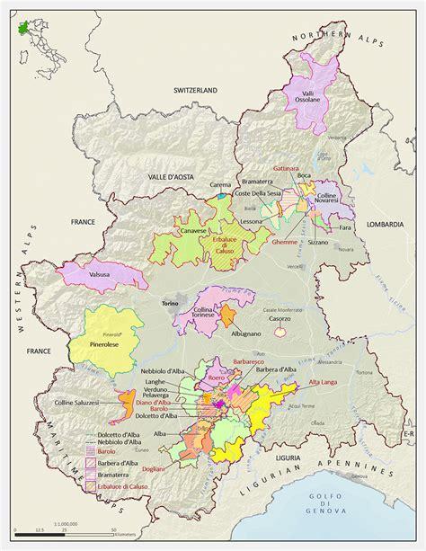 map of piedmont italian wine maps langhe in piedmont