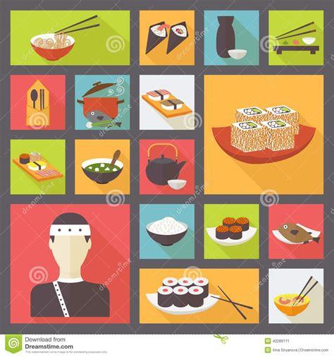 flat icon design japan japanese cuisine food icons set flat design stock vector