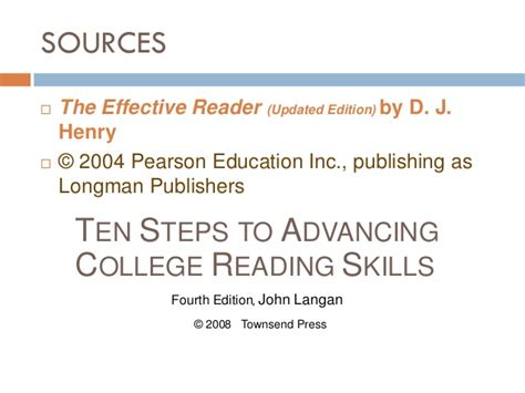 ten steps to advancing college reading skills patterns of organization compare contrast cause effect