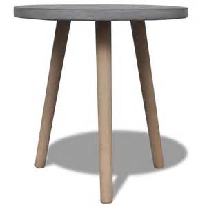 Vidaxl co uk small round table with concrete top and oak legs