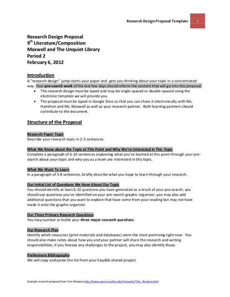 Design Project Proposal Guidelines | research design proposal guidelines and template maxwell