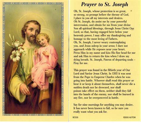 prayer to st powerful novena prayer to joseph prayer card